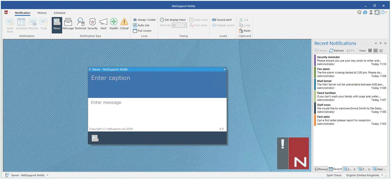 NetSupport Notify create a notification