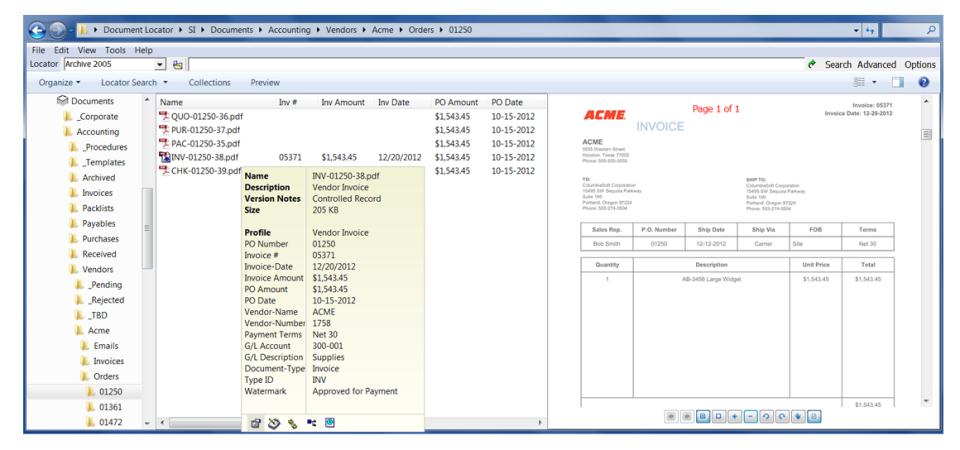 Document Locator screenshot: Document Locator showing added options within Windows Explorer