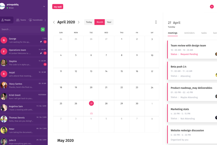 Flujo calendar view