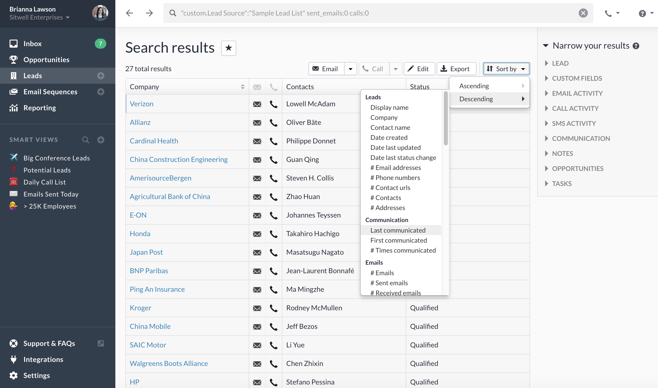 Close Software - Customize search
