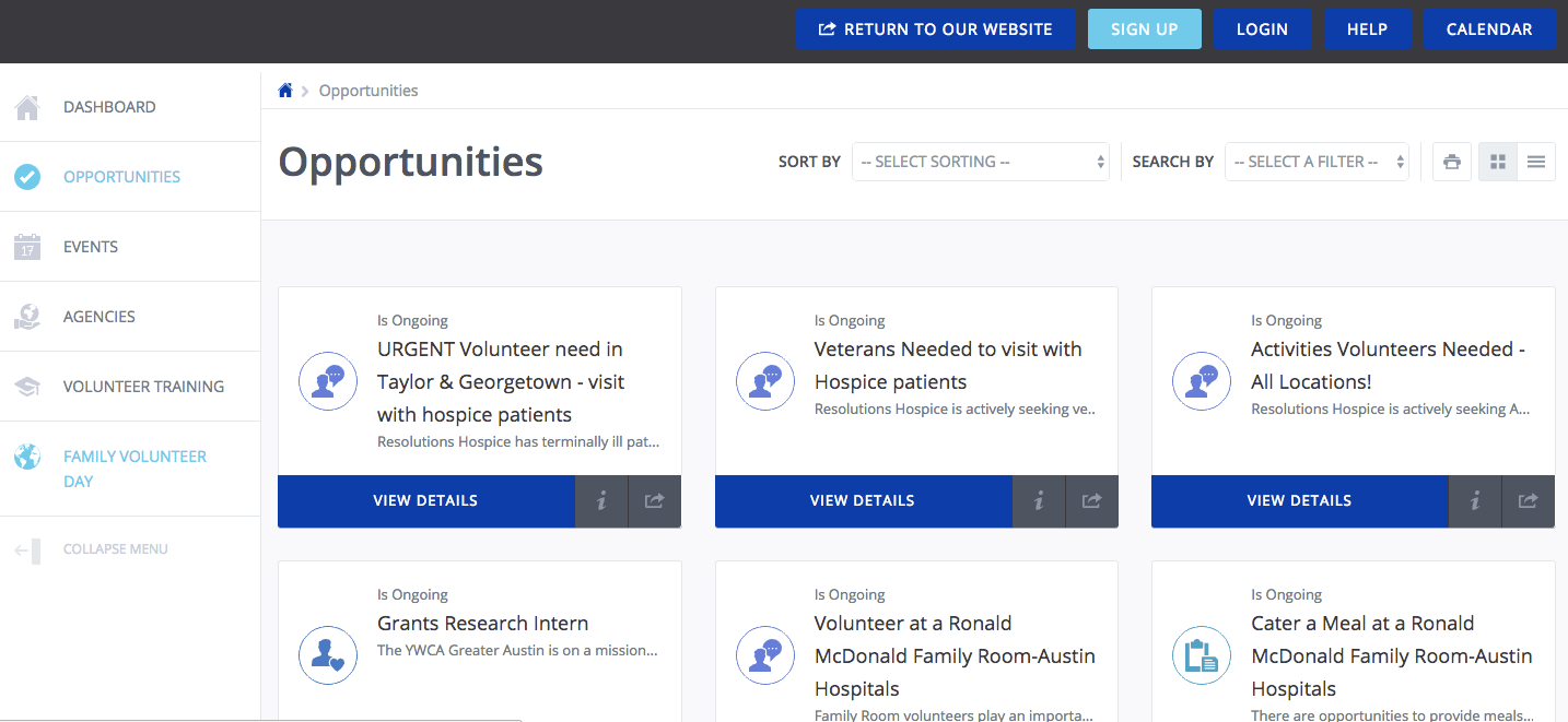 Get Connected Software - Volunteering opportunities can be promoted from within Get Connected