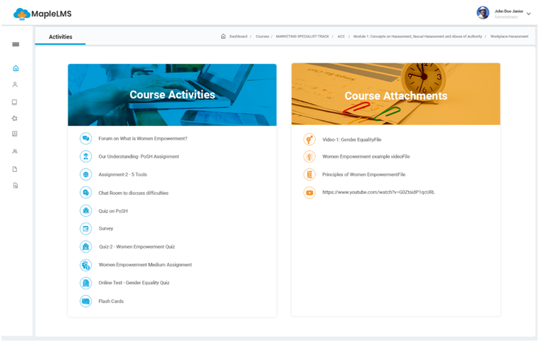 """The MapleLMS """"Activities"""" tab helps learners view their """"Course Activities"""" and select desired tests, surveys, assignments, etc. They can find the reference materials attached with the course under the """"Course Attachment"""" tab for continuing learning."""