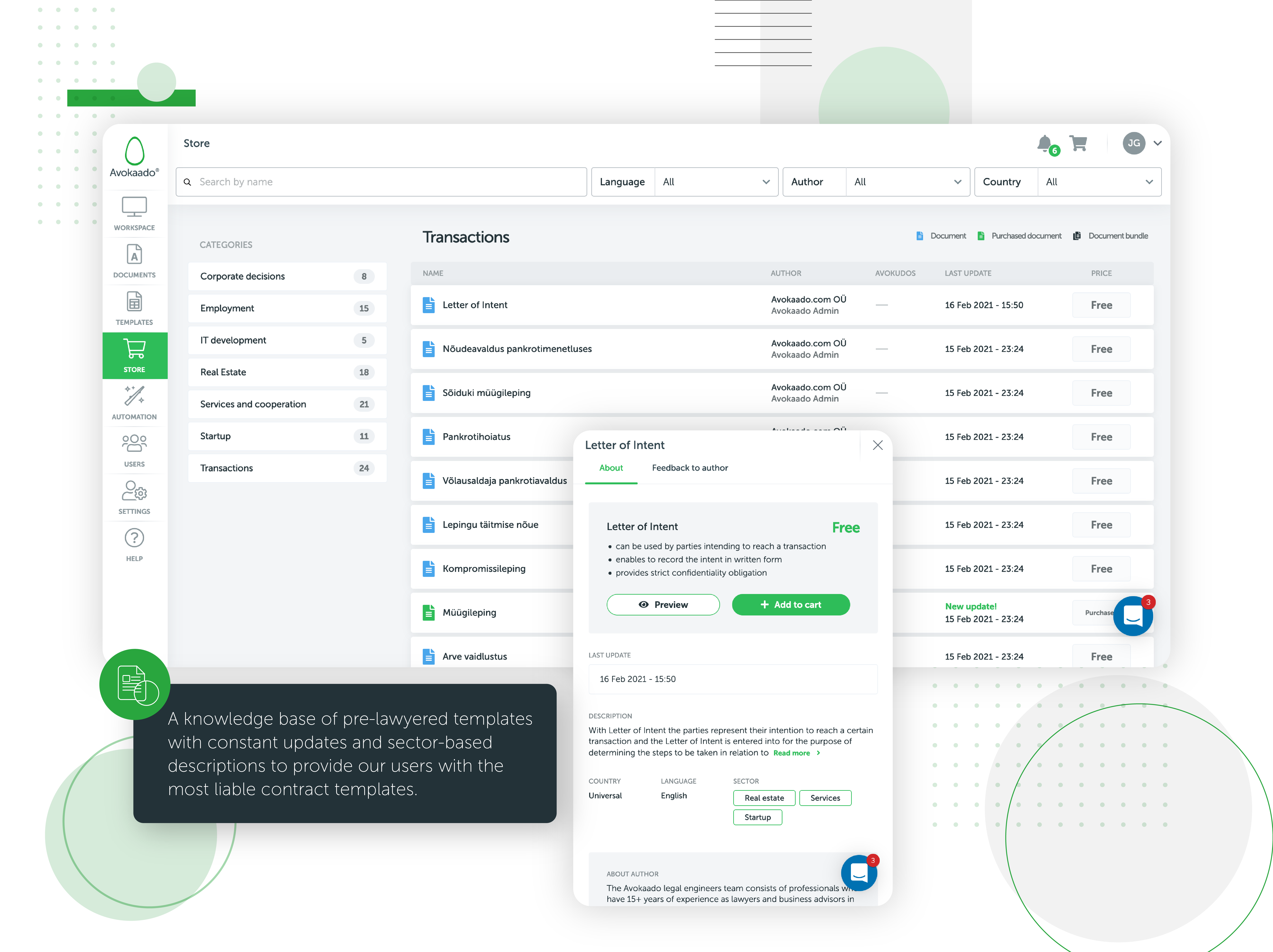Avokaado template store - the ever-growing knowledge base for pre-lawyered templates.