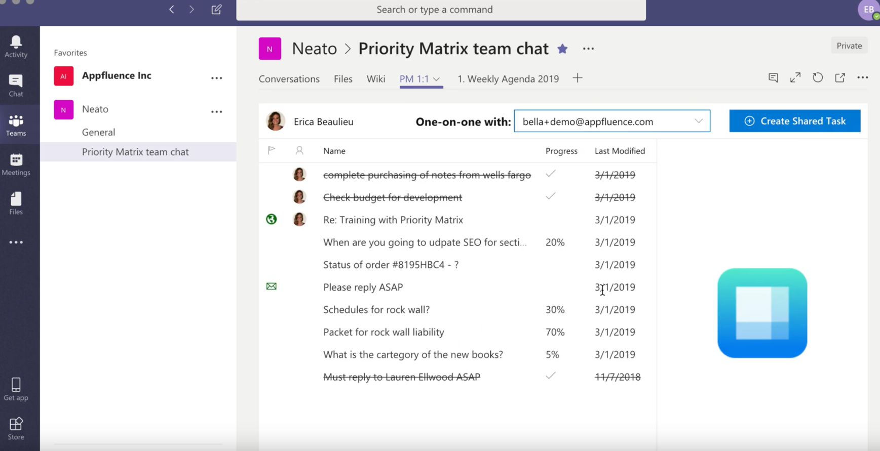 Priority Matrix Microsoft Teams integration