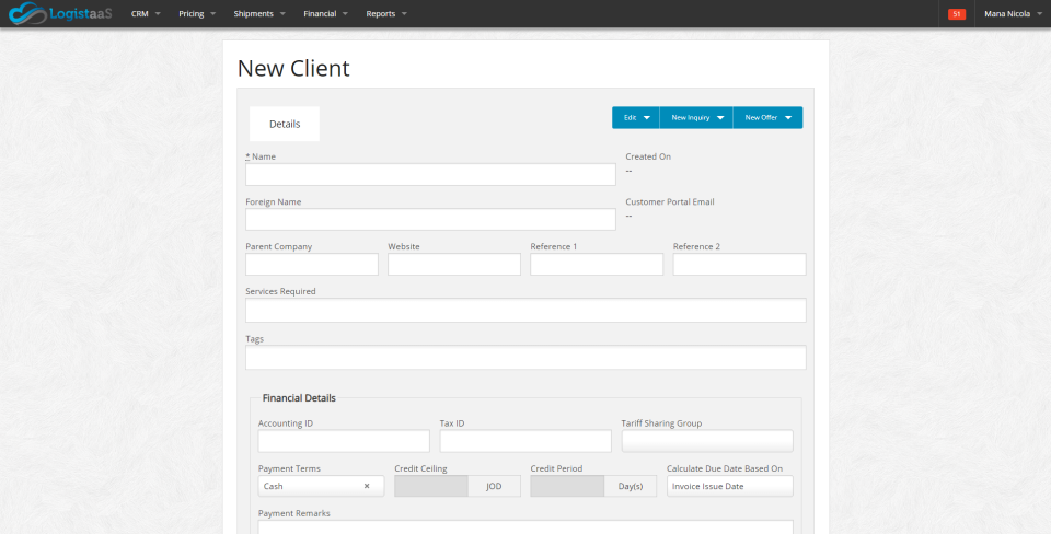Users can manage client information and enter details on a form