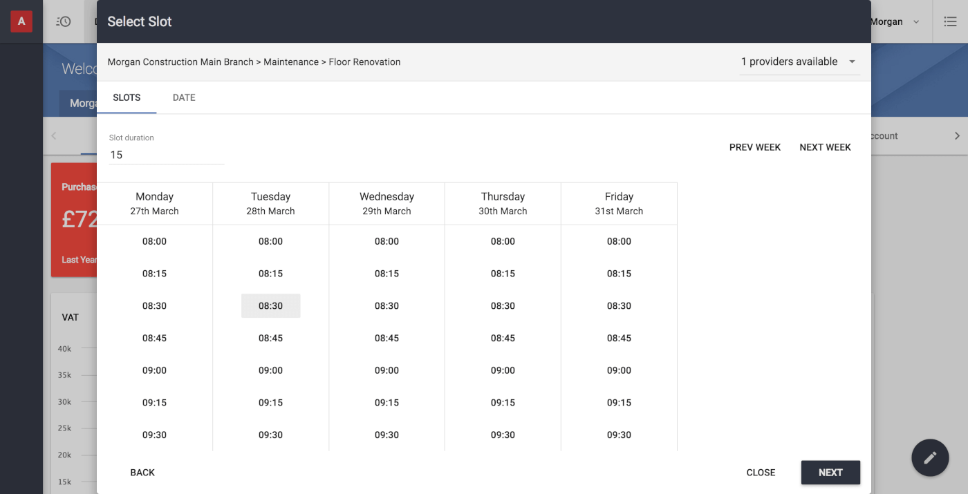 Create time-based bookings based on available slots when assigning workers or equipment to projects