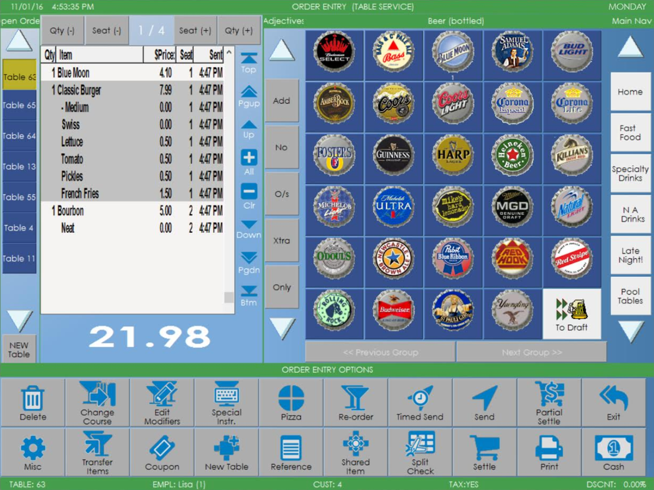 Restaurant Manager by Action Systems Software - Table screen