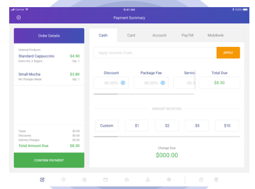 till screenshot: Users can can accept multiple payment types with an option to revert and change it even after the order is closed