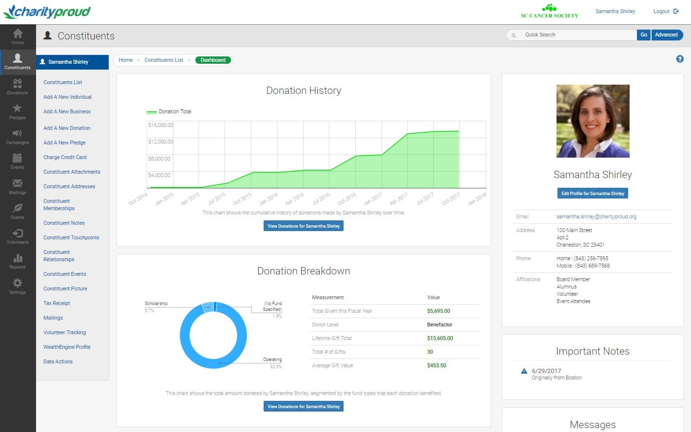 Charityproud Software - Constituent Dashboard %>