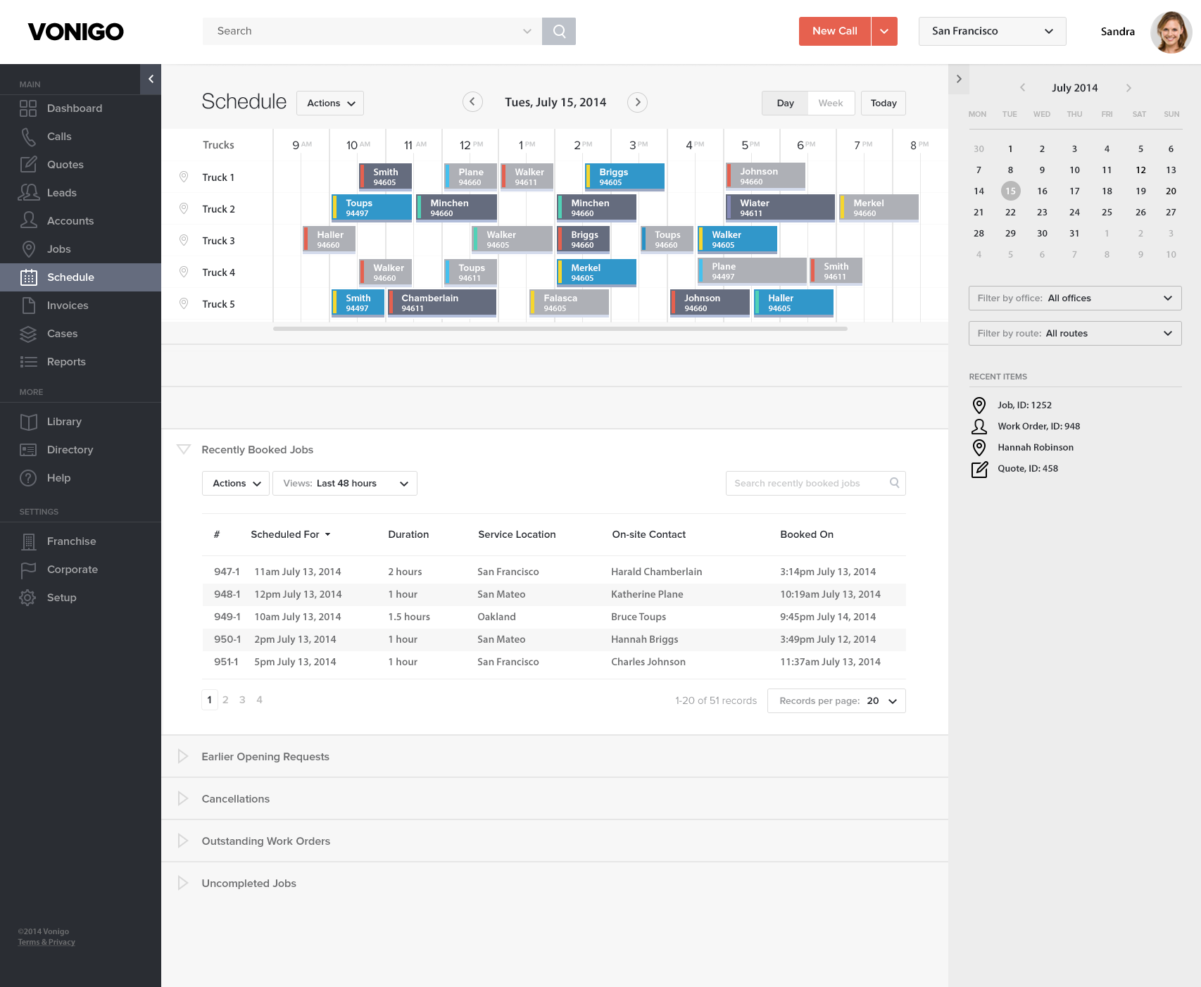 Vonigo Software - Vonigo desktop view