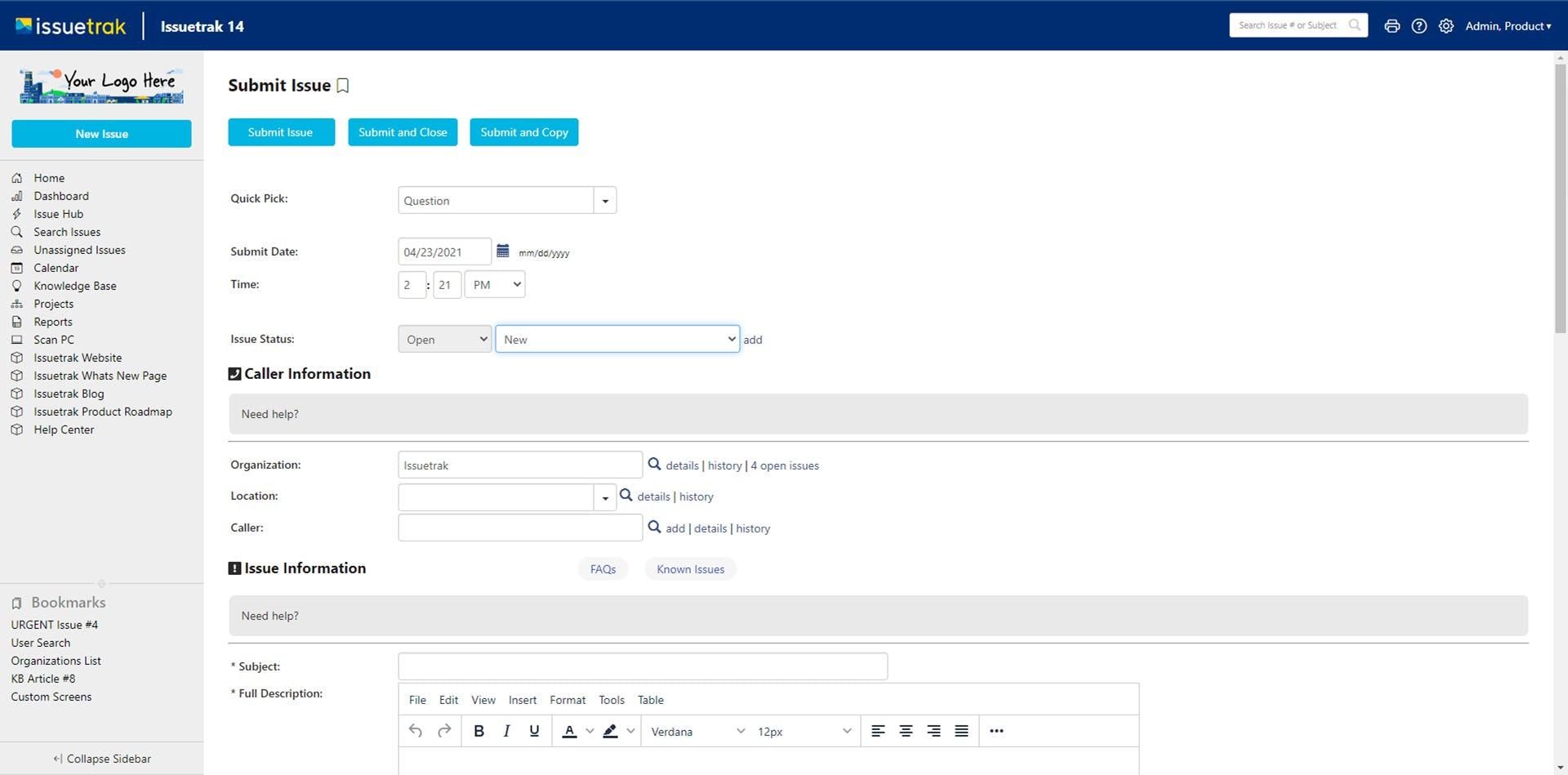 Issuetrak Software - Issuetrak Submit Issue View