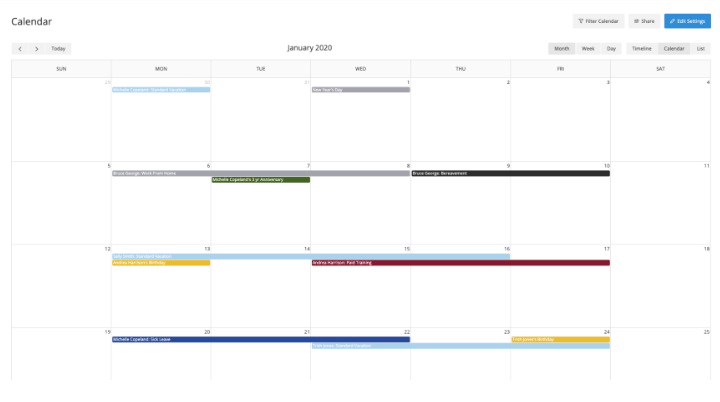 Customized calendar views and iCal feeds will allow your organization to have visibility for the whole company or just their department. Keep everyone in the loop and keep track of staffing needs.