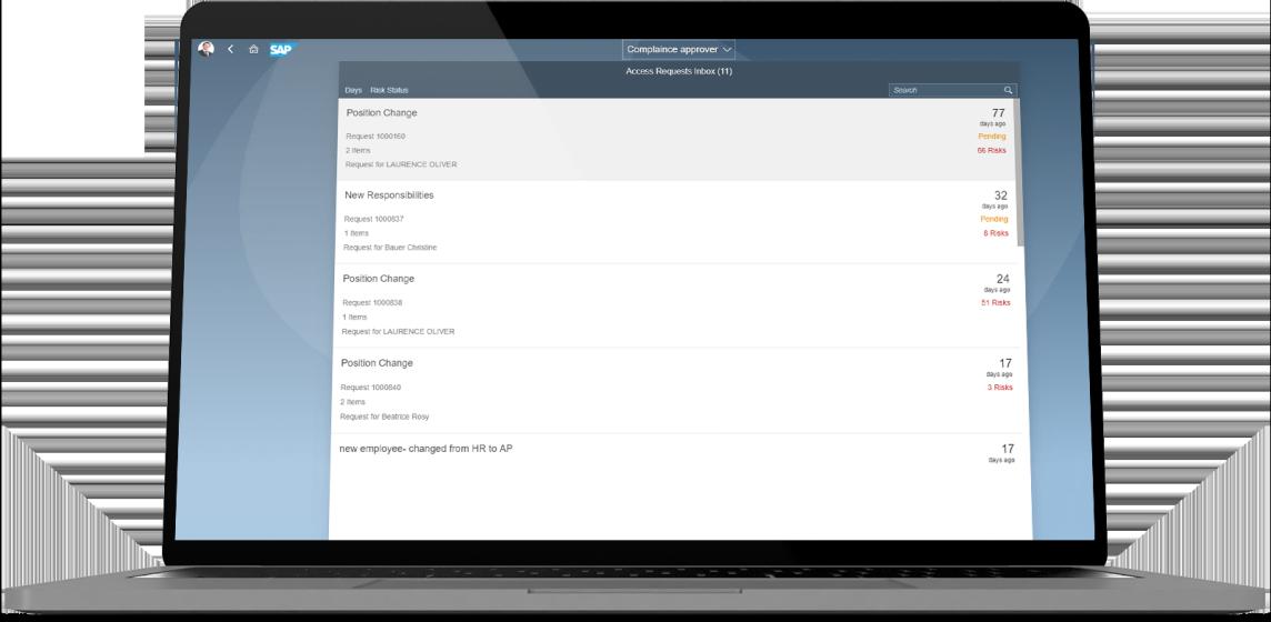 SAP Access Control dashboard