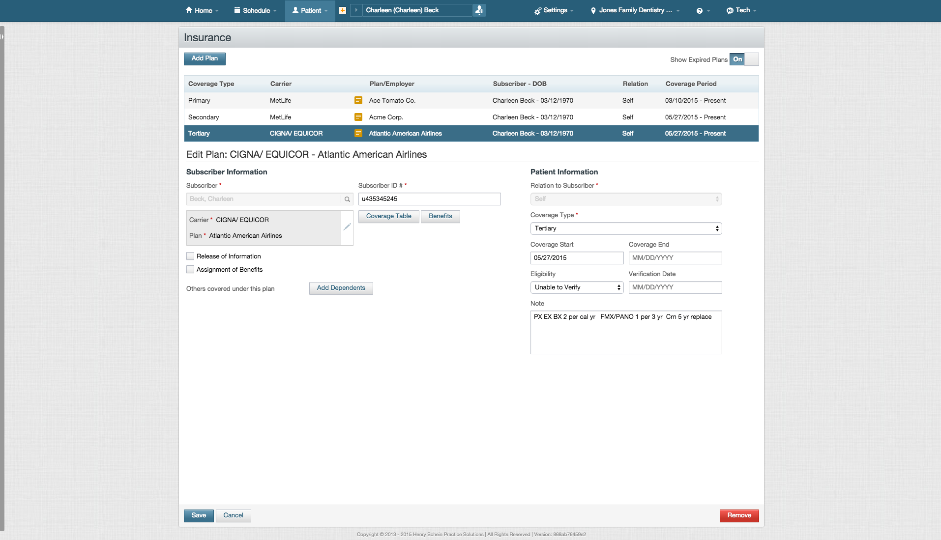 In Dentrix Ascend, users can manage up to 10 insurance policies per patient, and track their eligibility for treatments