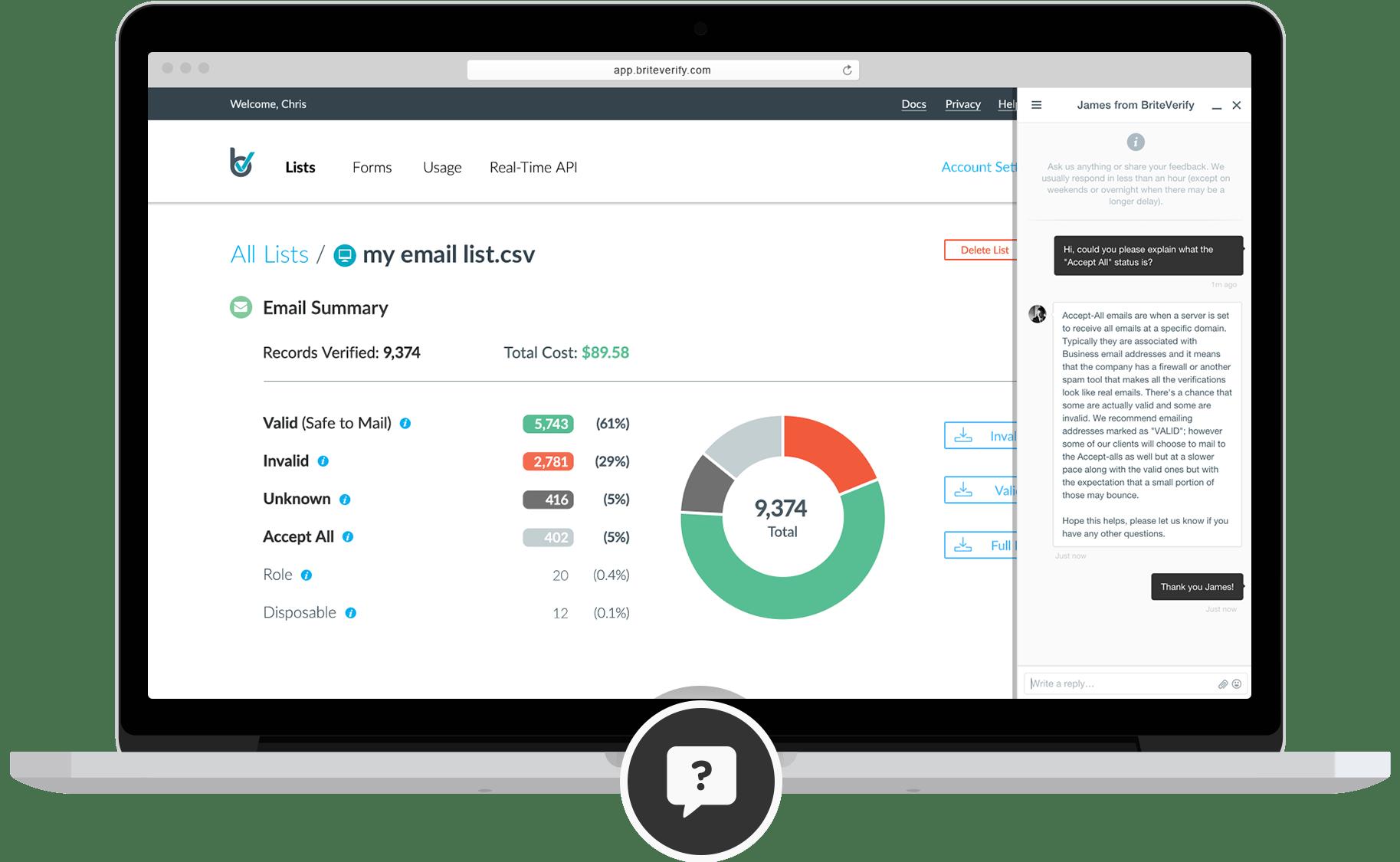 BriteVerify provide 24/7 in-app support