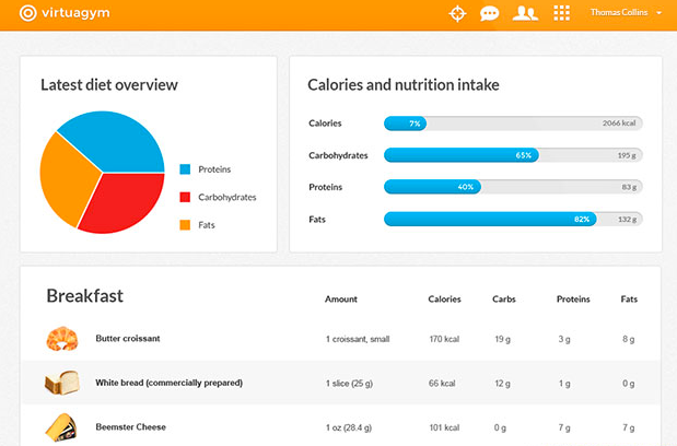 Virtuagym can also be used for nutrition and diet tracking