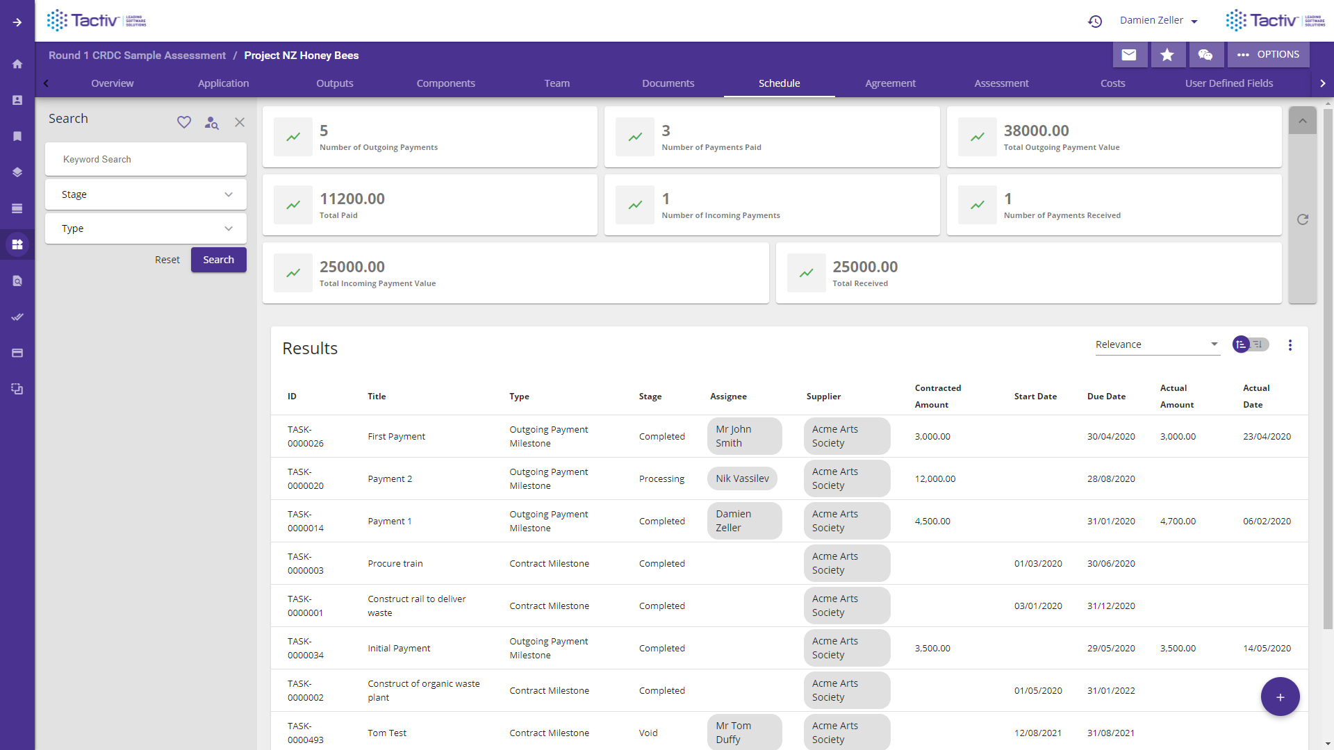 Enquire Software - Project schedule dashboards contain a wealth of information at a glance.
