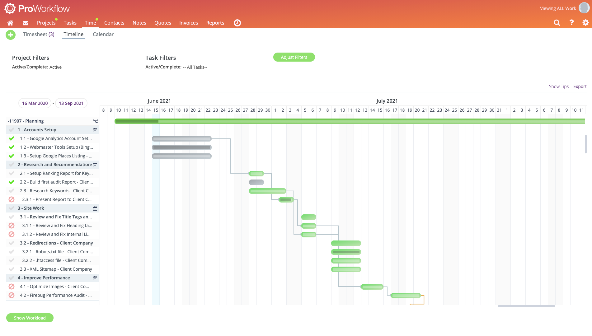 ProWorkflow Software - Gantt Chart - Keep a birds-eye view on Projects and Tasks with an easy-to-use Gantt Chart Timeline. Supercharge your projects with drag & drop features to reschedule work easily.