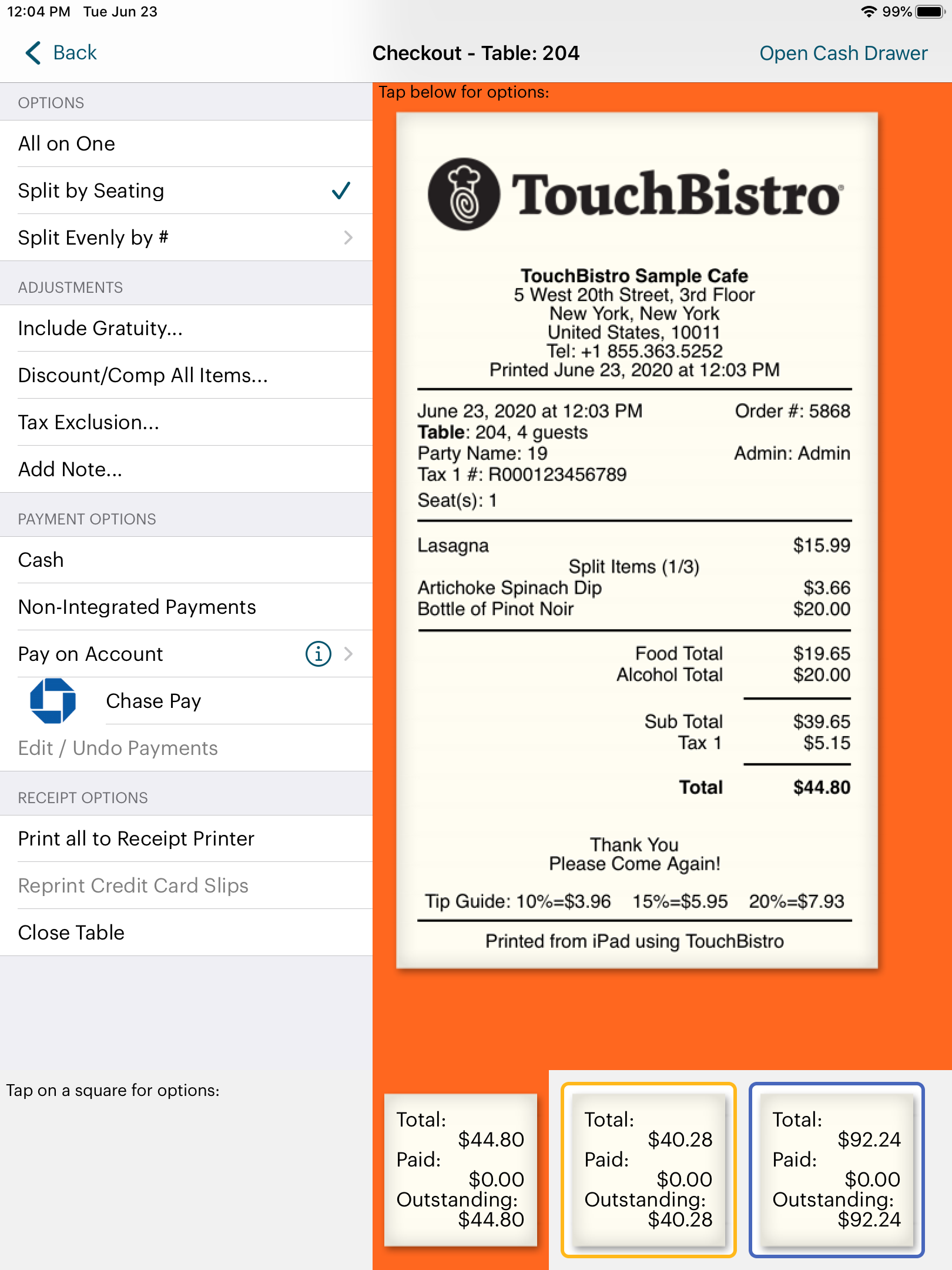 TouchBistro Check Out