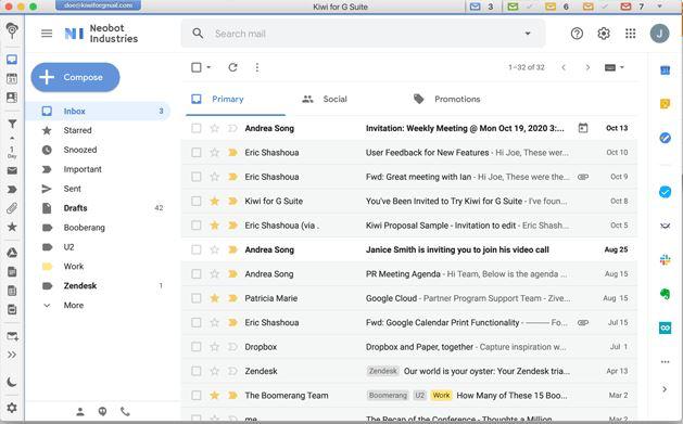 Kiwi Gmail messages