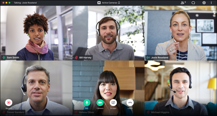 Flawless Video Meetings  An all new sleek & intuitive interface that let's you navigate meetings with ease.