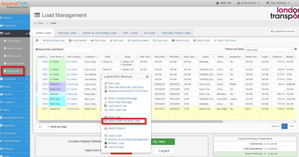 AscendTMS load management