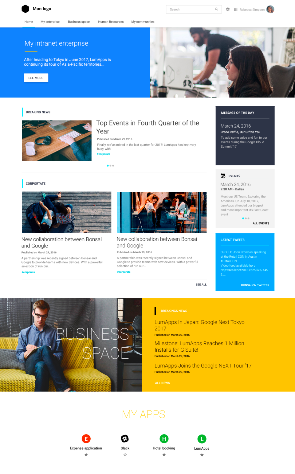 Branded intranet homepage