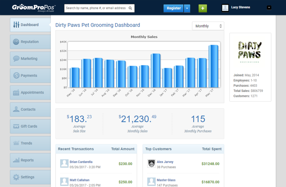 Easily understand the performance of all your services and groomers with reports and analytics