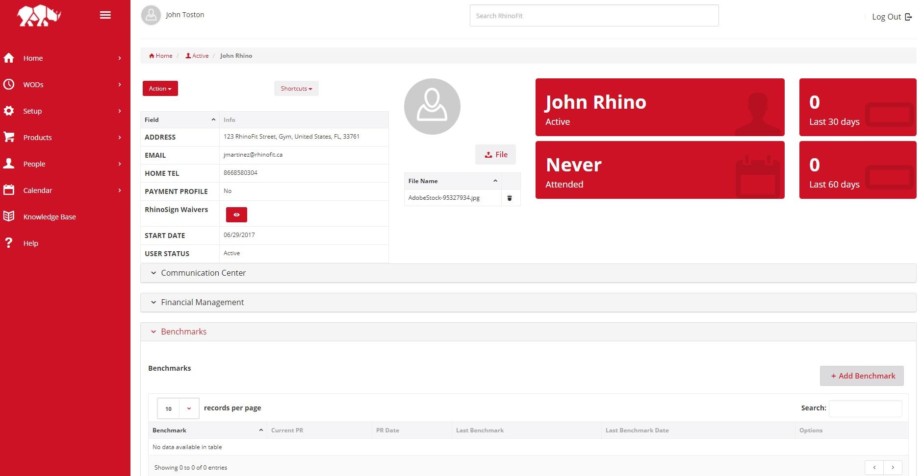 RhinoFit member details