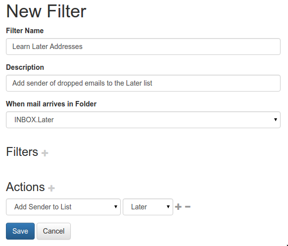 """Filter to train a """"Later"""" list of senders"""