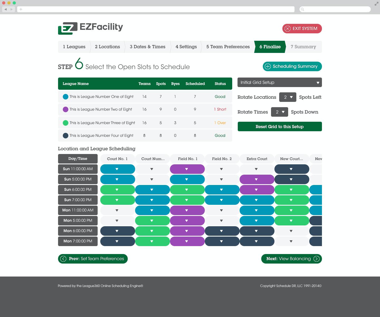 EZFacility screenshot: Easily update schedules