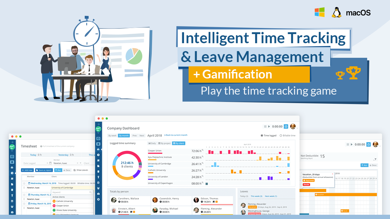 Trackabi is a web-based service for time tracking, employee leave management, preparation of time reports, invoice generation, and many other daily business activities. It includes gamification of time tracking and lots of customisation options.