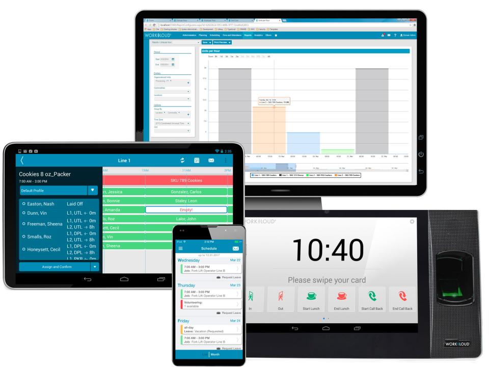 Indeavor Solutions screenshot: Manage employees from desktops, mobile phones, or tablets