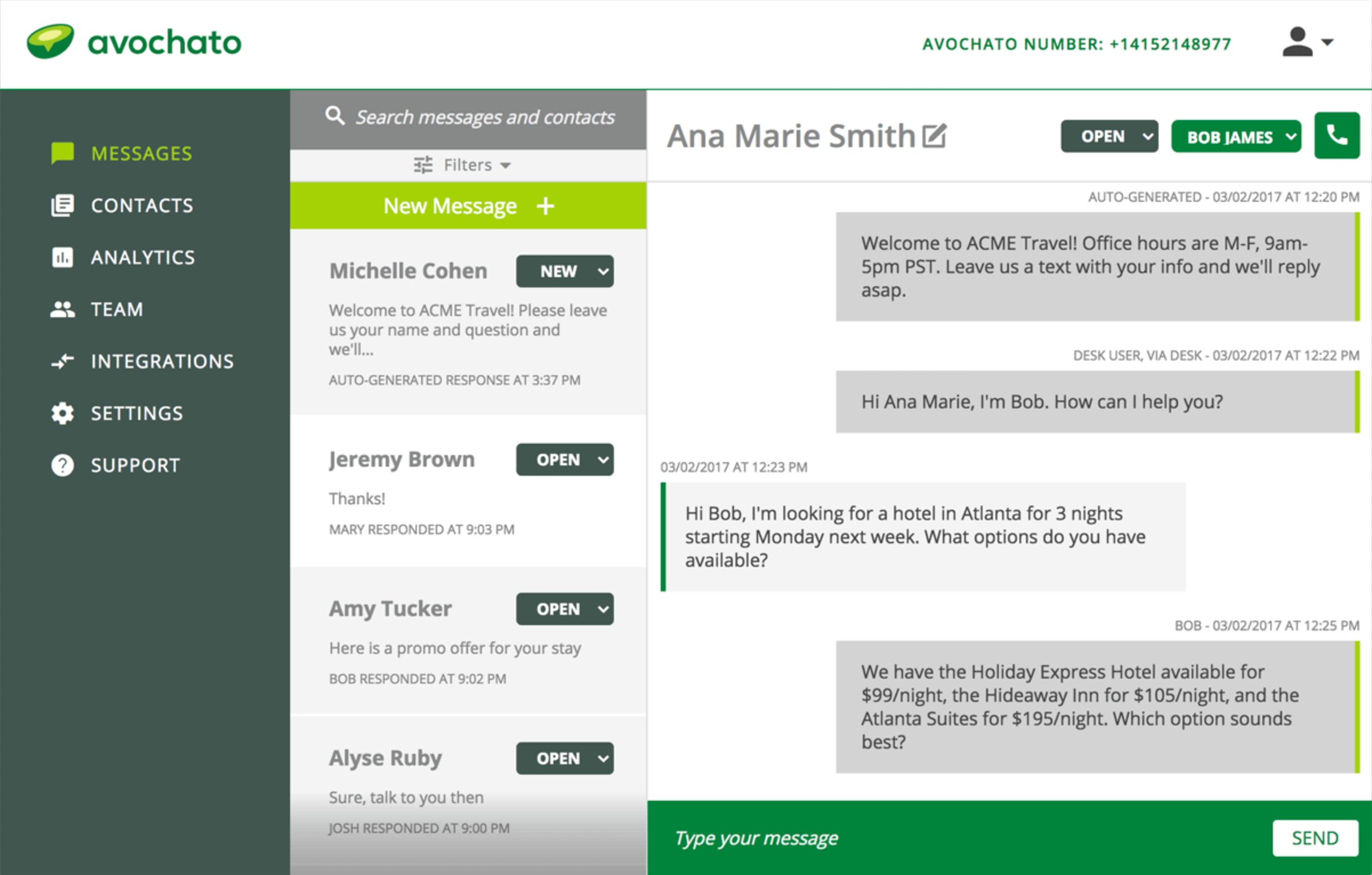 All messages are displayed in the web dashboard