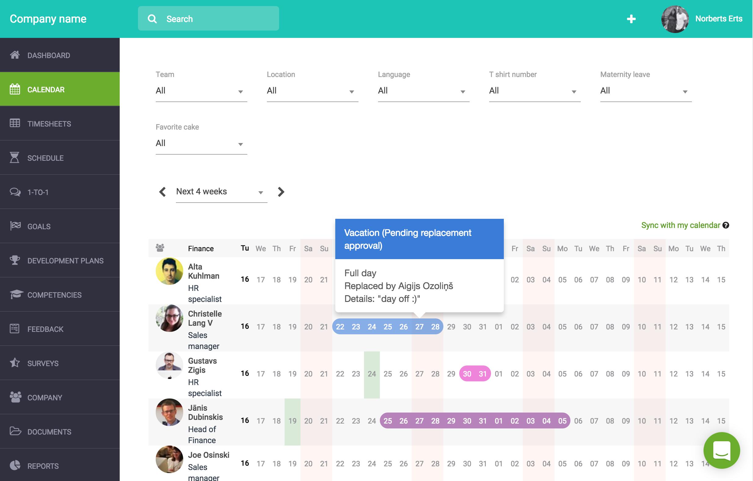 Sage HR Software - Scheduling tool