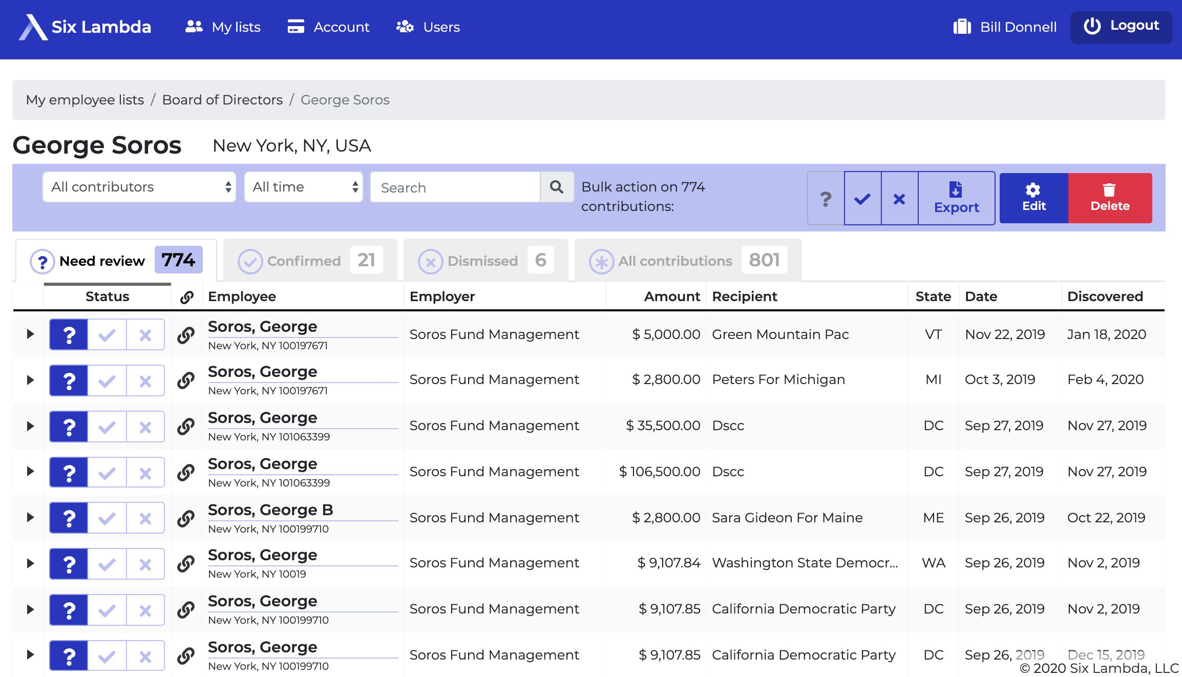 Six Lambda Software - Six Lambda contribution detail screenshot