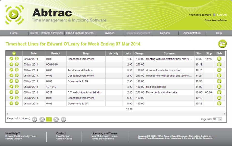 Abtrac Software - Alternate timesheets Screen - these layouts can be set by administrators and customised by each user