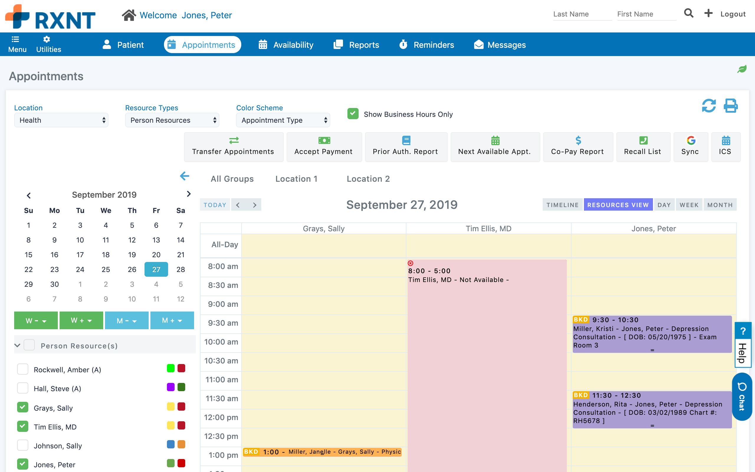 RXNT Practice Management – Scheduling Dashboard. See daily appointments for provider and resource scheduling, and payment control.