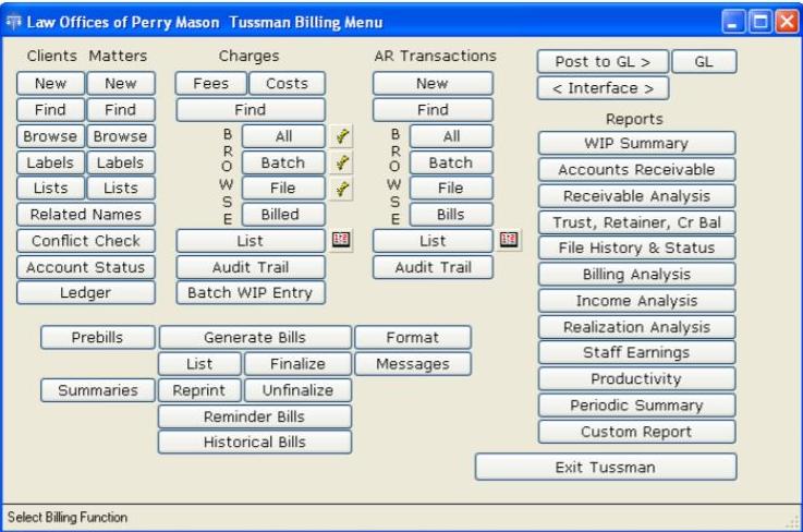 The Tussman Program billing menu