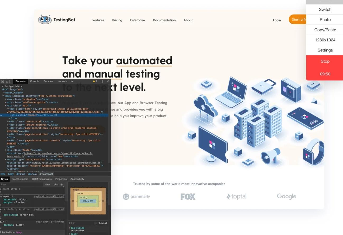 TestingBot native debugging tools