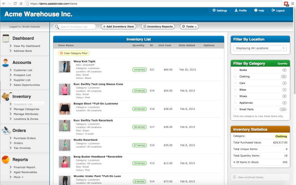 SalesBinder inventory list
