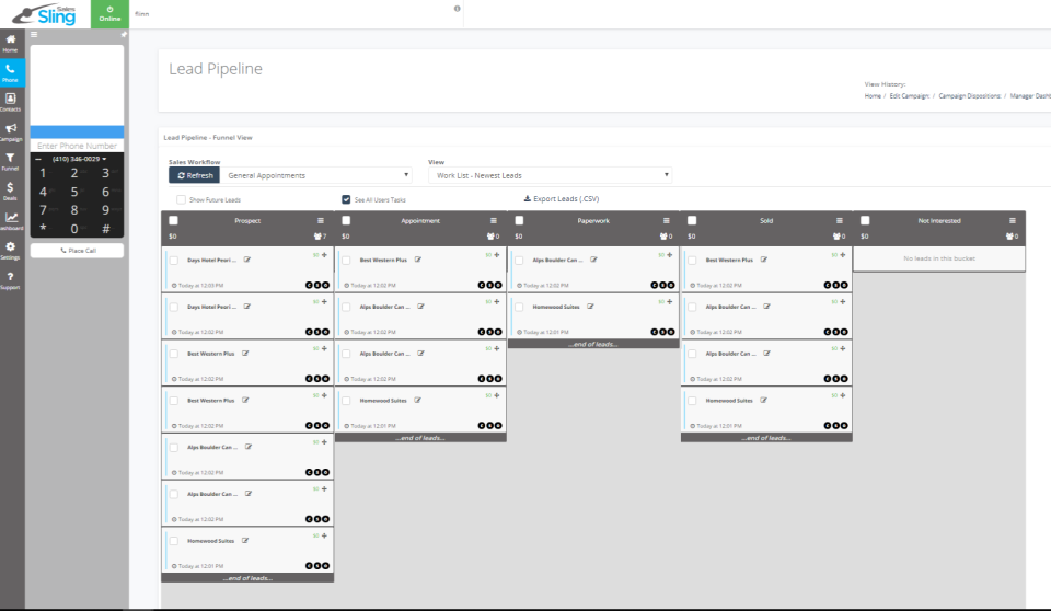 Leads are automatically added to the sales pipeline based on call dispositions