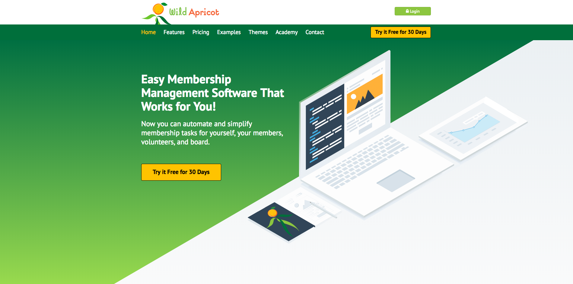 Wild Apricot Homepage Screenshot