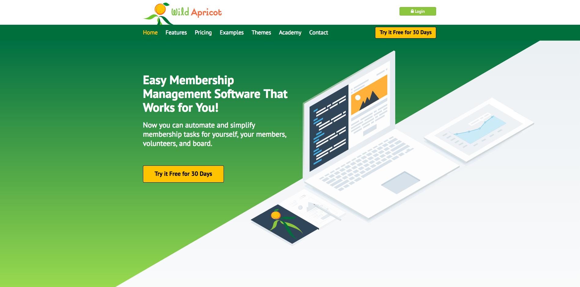Wild Apricot screenshot: Wild Apricot Homepage Screenshot