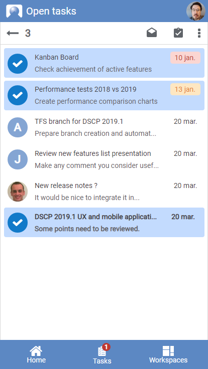QAD DynaSys Open Tasks with Selection View