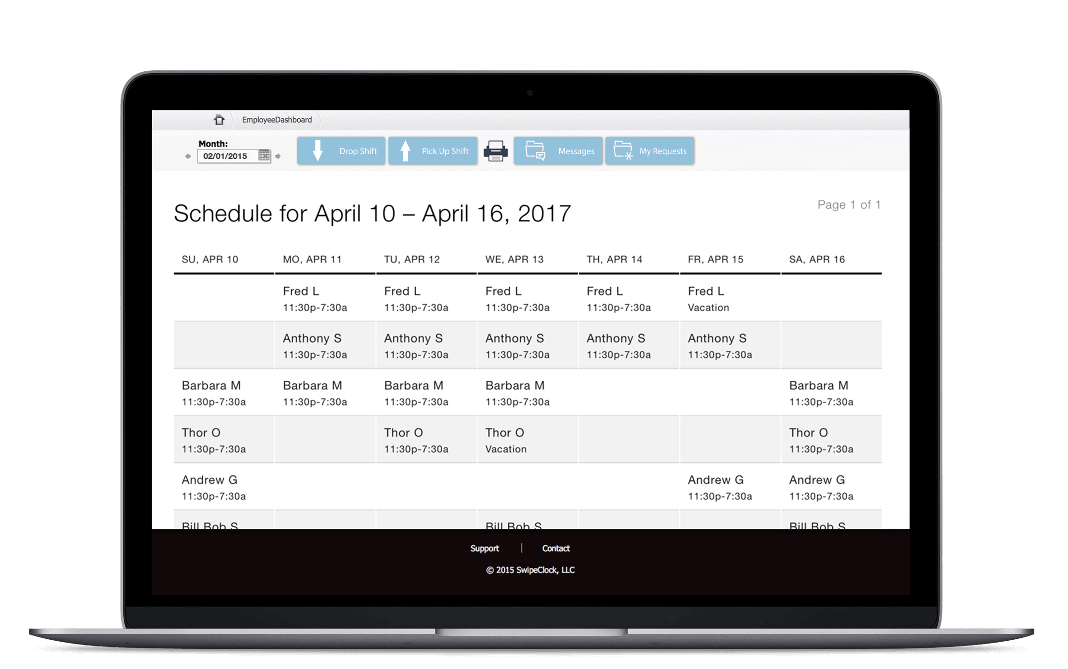 TimeSimplicity Software - TimeSimplicity swap shifts