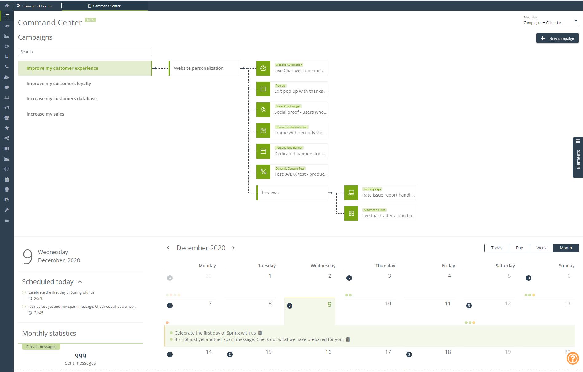 SALESmanago Marketing Automation Software - Command center