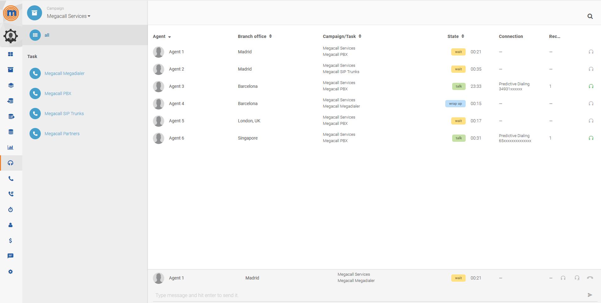 MegaDialer campaign management screenshot