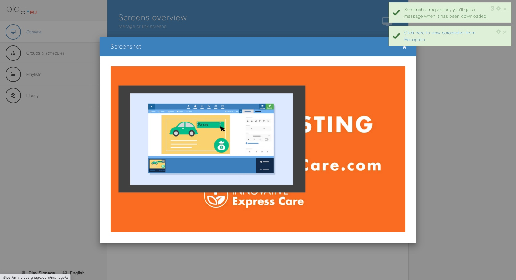 Want to check what's on the screen? Use our live screenshot feature.