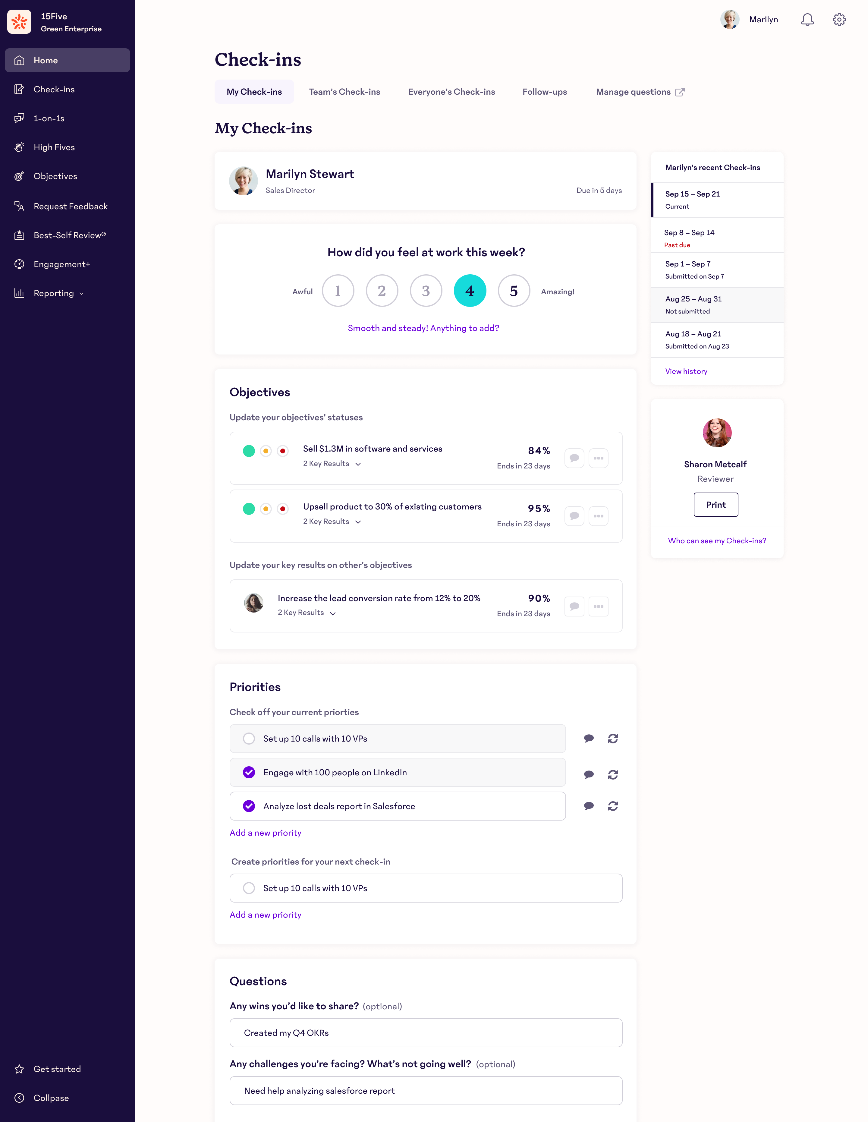 Check-in: Connect managers with their teams through regular Check-Ins that lead to actionable insights.